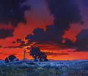 Fiery Paintings - Sundown at Grand Lake by Kevin Lawrence Leveque