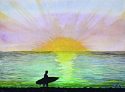 Surf Silhouette Painting Framed Prints - Sundown Surfer Framed Print by Suzette Kallen