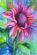 Watercolor Drawings Posters - Sunflower Poster by Slaveika Aladjova