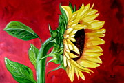 Sunflower Oil Paintings - Sunflower Sunshine by Maria Soto Robbins