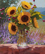 Mason Jar Prints - Sunflowers on the Rock Wall Print by Sarah Blumenschein