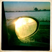 Hipstamatic Framed Prints - Sunlight in the rear mirror Framed Print by Matthias Hauser
