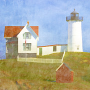 Maine Lighthouses Posters - Sunny Day at Nubble Lighthouse Poster by Carol Leigh