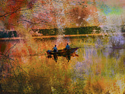 Layered Textures Prints - Sunrise Fishermen Print by J Larry Walker