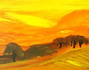 Napa Valley Vineyard Paintings - Sunrise by Kevin Oechsli