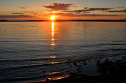 Traverse Bay Photos - Sunrise on Grand Traverse Bay by Diane Lent