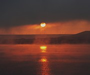 Mists Posters - Sunrise On The Columbia River Poster by Jeff  Swan