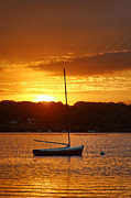 Vineyard Haven Prints - Sunrise Sailboat Print by John Greim