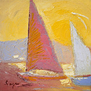 Yellow Sailboats Originals - Sunrise Sails by Dorothy Fagan