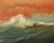 Panama City Beach Painting Prints - Sunrise waves Print by Joe Belmont