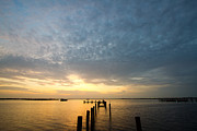 Charlotte Metal Prints - Sunset At A Weathered Pier At Port Charlotte Harbor Near Punta  Metal Print by Fizzy Image