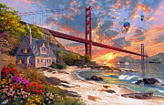 Sunset At Golden Gate Print by Dominic Davison
