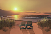 Lounge Chair Posters - Sunset Beach Poster by Corey Ford