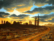 Serenity Scenes Paintings - Sunset  Farm  by Shasta Eone
