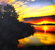 Filter Paintings - Sunset in Balaton lake by Odon Czintos