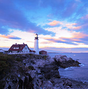 Williams Photos - Sunset In Fork Williams Lighthouse Park Portland Maine State by Paul Ge