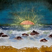 Sunset Seascape Mixed Media Posters - Sunset in Hammock Dunes Poster by Michele Napier-Berg