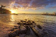 Fall River Scenes Prints - Sunset Light Print by Debra and Dave Vanderlaan