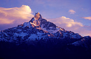 Slide Photographs Prints - Sunset on Machupuchare - Annapurna Range Nepal Print by Craig Lovell