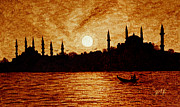 Fishing Boat Sunset Prints - Sunset Over Istanbul Original Coffee Painting Print by Georgeta  Blanaru