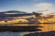 Reflection Of Sun In Clouds Prints - Sunset over the Inner Hebrides Print by Hugh McKean