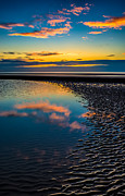 North Sea Digital Art Prints - Sunset Reflections Print by Adrian Evans