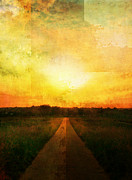 Amazing Sunset Digital Art Posters - Sunset Road Poster by Brett Pfister