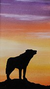 Wolf Howling Paintings - Sunset Silhouette by Lucy Deane