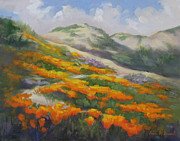 California Coast Paintings - Sunset State Beach Poppies by Karin  Leonard