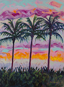 Tropical Sunset Painting Framed Prints - Sunset Trio Framed Print by Eve  Wheeler