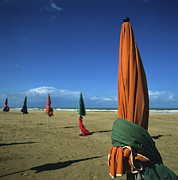 Parasols Framed Prints - Sunshades on the beach. Deauville. Normandy. France. Europe Framed Print by Bernard Jaubert