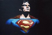Heroes Pastels Framed Prints - Superman Framed Print by Daniel King