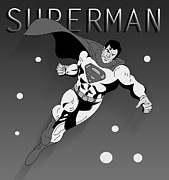 Black And White Male Nudes Framed Prints - Superman  Framed Print by Mark Ashkenazi