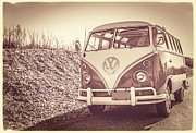 Autumn Landscape Photo Framed Prints - Surfers vintage VW Samba Bus at the beach Framed Print by Edward Fielding