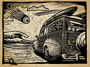 Old Car Drawings Prints - Surfs Up Print by Bomonster