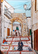 Buildings Paintings - Sutera Rabato Antico by Loredana Messina