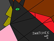 Olive Green Drawings Posters - Swatchee Poster by Anita Dale Livaditis