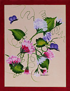 Tendrils Paintings - Sweet Peas and Butterflies by Barbara Griffin