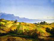 Farm Fields Framed Prints - Swiss Landscape Framed Print by Alexandre Calame