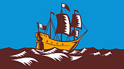 Woodcut Metal Prints - Tall Sailing Ship Retro Woodcut Metal Print by Aloysius Patrimonio