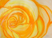 Tangerine Paintings - Tangerine Rose by Linda Waidelich