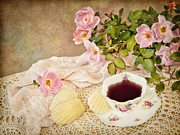 Cup Of Tea Photos - Tea And Cookies by Cheryl Davis