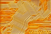 Motherboard Digital Art Prints - Technology Abstract Background Print by Michal Boubin