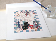 Signed Mixed Media Originals - Teddy Bears Bedtime Prayer by Ginger Stockwell