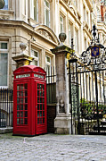 Pavement Tapestries Textiles - Telephone box in London by Elena Elisseeva