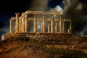 Ancient Ruins Posters - Temple of Poseidon Poster by Lois Bryan