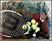 Racket Digital Art Framed Prints - Tennis Framed Print by Meagan Hoelzer