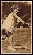 Lawn Tennis Posters - Tennis With Shirley Temple  Poster by Pierpont Bay Archives