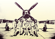 Uniforms Digital Art Prints - Test Pilots with P-47 Thunderbolt Fighter Print by Robin B E Muirhead Esq