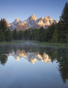 Snow Capped Mountains Posters - Teton Reflections Poster by Andrew Soundarajan